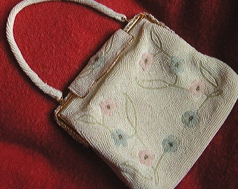 Vintage Vivant By Sarne Floral Beaded Bag Handmade Japan