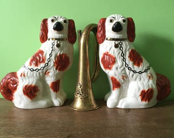 """Large Pair of Ceramic King Charles Staffordshire Dogs 11.5"""" high. Wally Dogs. English Set of Ceramic Matching Spaniel Dogs. England Pottery"""