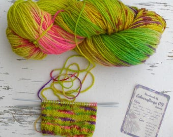 Self striping wool yarn, Hand painted sheep wool, Sport 5 ply yarn, exceptional bright colors