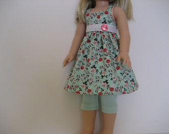 14.5 Inch Doll Clothes - Mint Green Floral Dress made to fit dolls such as Wellie Wishers doll clothes