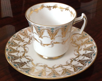 Royal Chelsea English Bone China Gold and Teal Tea Cup and Saucer 733A/T