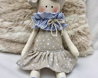 Cloth doll dressed in stars-soft doll