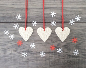 Set of 3 Small White Heart Christmas Decorations - Ceramic Heart Ornaments