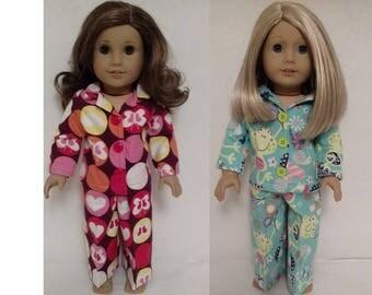 18 inch Girl Doll Clothing, handmade to fit American Girl Dolls, (Pajamas choose maroon of light green) pj-407cab