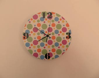 Coloured, spotted wall clock,  kids room  coloured,  Housewares, nurcery wall clock, gift for boys or girls,  animal wall clock