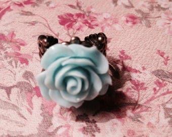 Turquoise Rose Filigree Ring