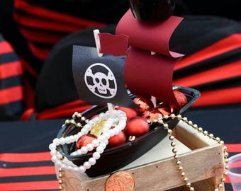 Pirate Ship - Pirate Centerpiece - Pirate Boat - Pirate Theme Party - Pirate Table Decoration - Pirate Party - Pirate Ship Favor - 10ct.