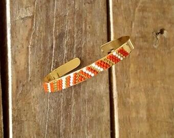 BRACELET KAYA red saffron gold plated and glass Miyuki beads