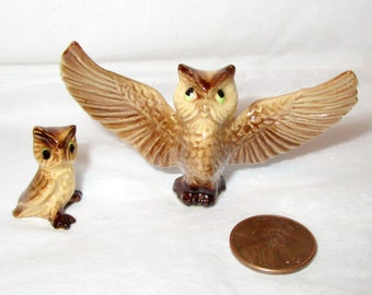 Vintage HAGEN RENAKER Green Eyes Papa OWL & Owlet Figurines Baby Retired Miniature Bone China U.S.A. / Pair  Family Collectible  Mint / Gift
