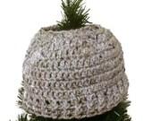 Messy bun crochet beanie hat