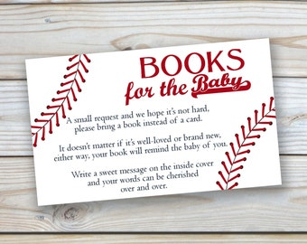 Instant Download - Baseball - Baby Shower - Books for the Baby - Insert - 3x5 Size - Printable - Digitla File