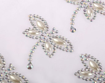 6 x 40*35mm AB Clear Dragonfly Pearl Crystal Rhinestone Self Adhesive Gems