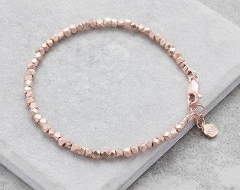 Rose Gold Nugget Bracelet, Rose gold bracelet, rose gold nuggets, Dainty  bracelet, Wrap bracelet, for her, moms, UK, festival bracelets,