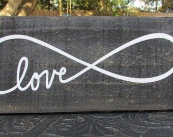 Love Infinity sign, Love infinity home decor, rustic wall sign, rustic sign, rustic home decor, rustic wall decor, country home decor