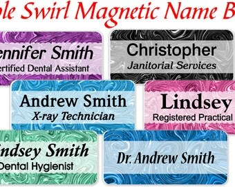 Magnetic name badges, Nursing name tags, Dental Name badges, ID Name badge, Marble Swirl name badge, Abstract Name tags - MARBLESWIRL1