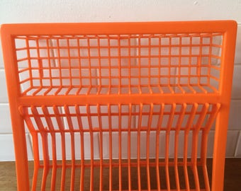 Retro orange plastic dish drainer 1970s