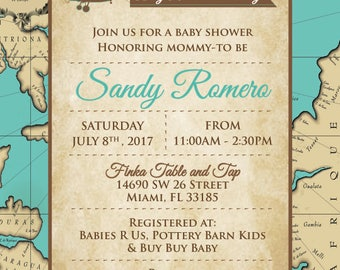 Travel Themed baby shower invitation - baby is on the way invite
