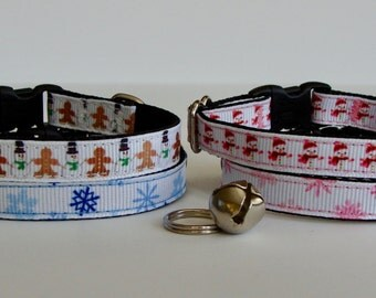 READY TO SHIP! Christmas Cat Collar Snowman, Gingerbread, Snowflake - Pink, Blue