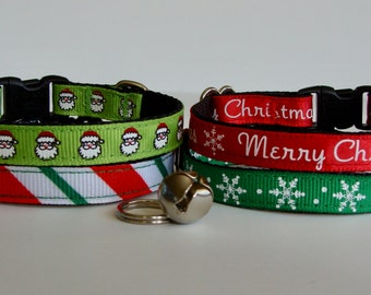 READY TO SHIP! Christmas Cat Collar Santa, Merry Christmas, Candy Cane Stripe, Snowflake - Green, Red