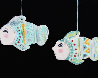 Ceramic Fiesta Fish Ornament, Handmade Clay Decoration by Arizona Artist, Karlene Voepel.  Sold individually.