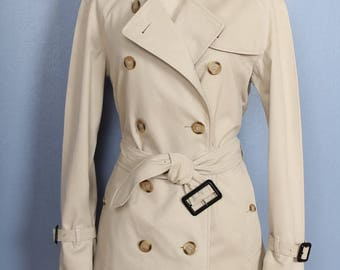 Women's 100% Authentic Beige BURBERRY Double Breasted Short Trench Coat US 6
