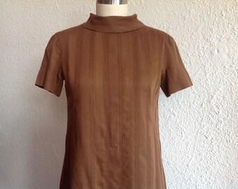 1960s Brown cotton shift dress