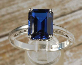 14K White Gold 9x7mm Chatham Blue Sapphire Solitaire Engagement Ring, Emerald Shape, Vintage Scroll Setting Design