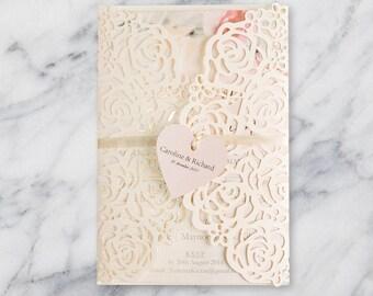 30 Rose Design Laser Cut Wedding Invitation Set: Invitation, RSVP, Direction or Accommodation, Thank You Card