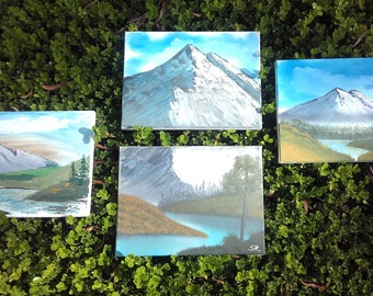 Snow capped mountain series - 4 oil paintings