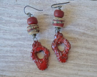 Boho Red Earrings - Scorched Earth - DayLilyStudio