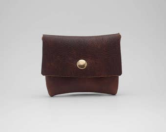 Minimalist Reclaimed Leather Wallet - Dark Brown