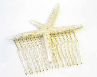 Gold Faux Starfish Hair Comb Headpiece White Mermaid Ariel Beach Bridesmaid 1103