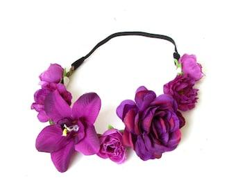 Purple Rose Orchid Flower Garland Headband Hair Crown Festival Headpiece 2386