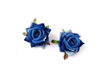 2x Blue Rose Flower Hair Clips Fascinator Bridesmaid 1950s Rockabilly Slide 2530