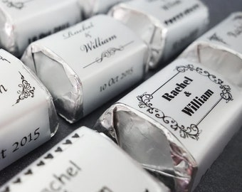 100 Silver Foil PERSONALIZED Wedding Candy wrappers/stickers for hershey nuggets