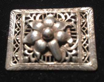 Floral cut out brooch sterling silver