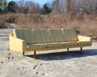 Danish Wegner Style Mid Century Sofa - Striped Yellow Wool Pattern with Curved Back Wormley Style