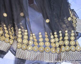 Black Designer long Embroidery Lehenga/Skirt with golden emboidery blouse For Women | Party ware Lehanga / Long skirt