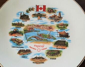"""Vintage EXPO 67 Montreal Canada Souvenir Plate World's Fair Collectible Size 6.75"""" British Anchor England Hostess Ware"""