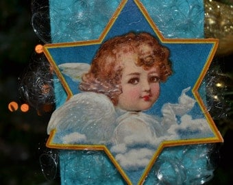 Angel on Blue Ornament