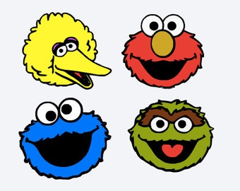 SVG, sesame street characters, elmo, big bird, cookie monster, oscar,  cut file, printable,  cricut, silhouette, instant download