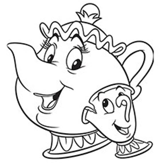 chip and mrs potts coloring pages | SVG disney mrs. pots and chip beauty and the beast cut