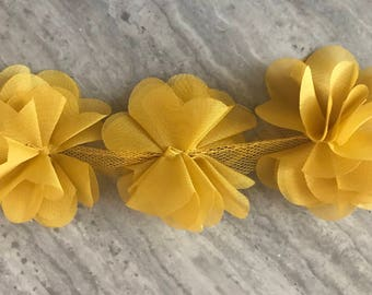 Dijon yellow chiffon flower trim