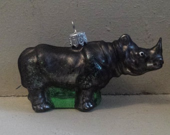 Blown Glass Rhino Christmas Tree Ornament Decoration or Bauble