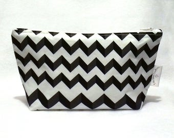 Chevron Make Up Bag, Cosmetics Bag, Toiletry Bag, Gift For Her, Cosmetic Storage, Make Up Storage