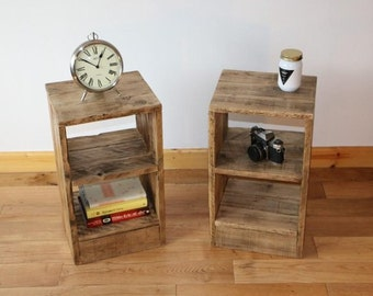 Rustic Bedside Table / Nightstand made from reclaimed pallet wood. x2 free UK delivery