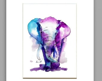 MATTED ARCHIVAL PRINT,Elephant Watercolor art - Watercolor Painting Art Print - Fall home decor and wall art