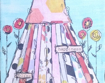 Mixed Media Original Whimsical Tattered Skirt Painting on Canvas 5x7 231-0116
