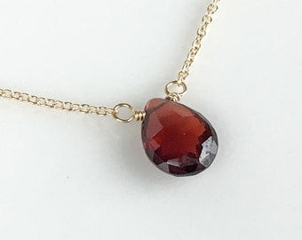 Garnet Necklace - January Birthstone Necklace - Dark Red Gemstone Necklace - Avail Gold and Rose Gold - Gift for Her