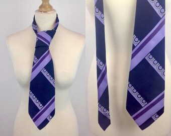 Vintage 60s Tie, Tootal, Lilac, Kipper Tie, 60s Pattern, Retro Tie, Hipster, Kitsch